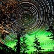 Star Trails And Northern Lights In Sky Over Taiga Poster