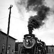 Steam Engine 3254 Black And White Poster