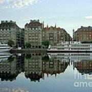 Stockholm City Harbor Sunrise Poster