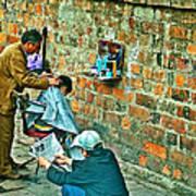 Streetside Barbershop In Hanoi-vietnam  Poster