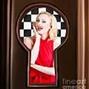 Stylish Surprised Women Portrait. Pinup Secret Poster