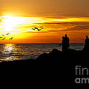 Sunset At South Jetty Poster