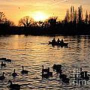 Sunset On The Thames At Walton Poster