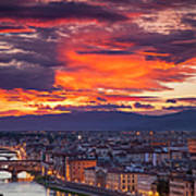 Sunset Over Florence Poster