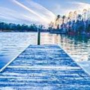 Sunset Over Lake Wylie At A Dock Poster