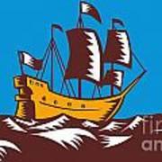 Tall Sailing Ship Retro Woodcut Poster
