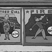 Tattoos And Fire In Black And White Poster