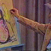 Ted Degrazia Drawing An Angel On Camera Kvoa Tv Screen Capture Christmas 1967 Poster