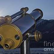 Telescope And Sunrise Poster