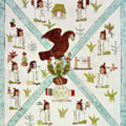 Tenochtitlan (mexico City) With Aztec Poster