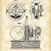 Tesla Electric Circuit Controller Patent 1897 - Vintage Poster