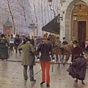 The Boulevard Des Capucines And The Vaudeville Theatre Poster