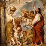 The Israelites Gathering Manna In The Desert Poster