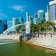 The Merlion  Fountain - Singapore Poster