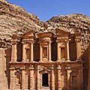 The Monastery Sculpted Out Of The Rock At Petra In Jordan Poster