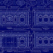 The Resolute Desk Blueprints - Dark Blue Poster by Kenneth Perez