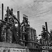 The Steel Mill In Black And White Poster