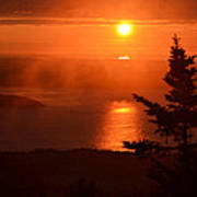 The Sunrise From Cadillac Mountain In Acadia National Park Poster