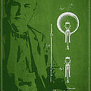 Thomas Edison Electric Lamp Patent Drawing From 1880 Poster by Aged Pixel