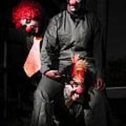 Three Clowns Having Fun Poster