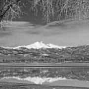 Twin Peaks Longs And Meeker Lake Reflection Bw Poster