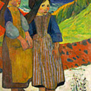 Two Breton Girls By The Sea Poster