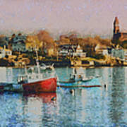Two Lobster Boats On Marblehead Harbor With A Red Sky Poster