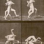 Two Men Wrestling Poster