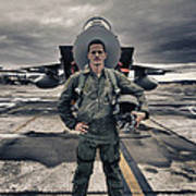 U.s. Air Force Pilot Standing In Front Poster