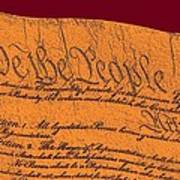 Us Constitution Closeup Sculpture Violet Red Background Poster by L Brown