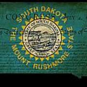 Usa American South Dakota State Map Outline With Grunge Effect F Poster