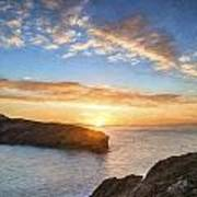 Van Gogh Style Digital Painting Beautiful Vibrant Sunrise Over Rocky Coastline Poster