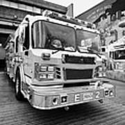 Vancouver Fire Rescue Services Truck Engine Outside Hall 2 In Downtown Eastside Bc Canada Poster by Joe Fox