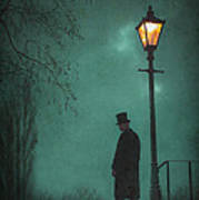 Victorian Man Standing Next To An Illuminated Gas Lamp Poster by Lee Avison
