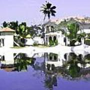 View Of The Cottages And Lagoon Water In Alleppey Poster