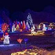 Village In Christmas Lights Panoramic View Poster