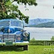 Vintage Blue Caddy At Lake George New York Poster