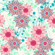 Vintage Flower Pattern Print For Poster