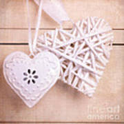 Vintage Hearts With Texture Poster by Jane Rix