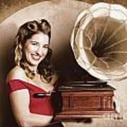 Vintage Pin-up Girl Listening To Record Player Poster