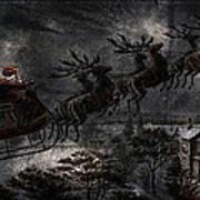 Vintage Santa Stormy Midnight Ride Reindeer Sleigh Poster