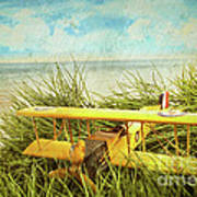 Vintage Toy Plane In Tall Grass At The Beach Poster by Sandra Cunningham