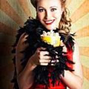 Vintage Woman Eating Popcorn At Movie Premiere Poster