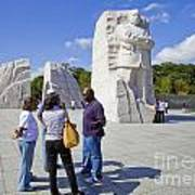 Visitors At The Martin Luther King Jr Memorial Poster