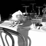 Waiting For Diners Bw Poster