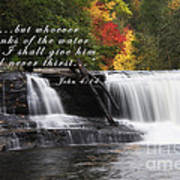 Waterfall With Scripture Poster