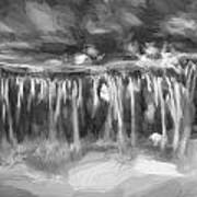 Waterfalls Childs National Park Painted Bw   Poster