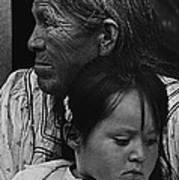 White Mountain Apache Elder And Granddaughter Rodeo White River Arizona 1970 Poster