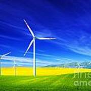 Wind Turbines On Spring Field Poster