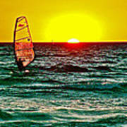 Windsurfer At Sunset On Lake Michigan From Empire-michigan  Poster